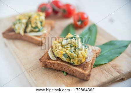 Healthy Scrambled Egg and wild garlic Sandwich on a Toasted Bun