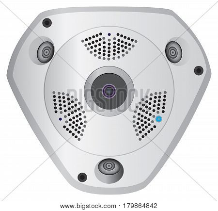 Panoramic wireless security camera with three video lenses.
