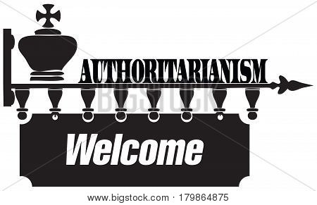 Creative on the topic of authoritarianism with chess pieces. Vector illustration.