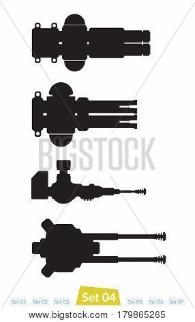 Set of Spaceship weapons silhouette set four