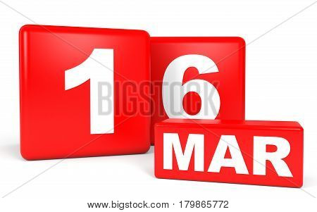 March 16. Calendar On White Background.