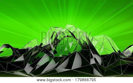 Abstract Mountain Landscape In Polygonal, 3D Illustration