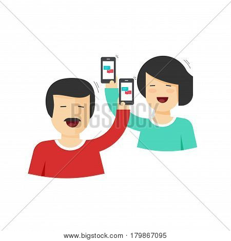 Happy couple man and woman holding mobile phones in hands with chatting icons, smiling cheerful people messaging with smartphones, concept of online relationship flat cartoon style vector illustration