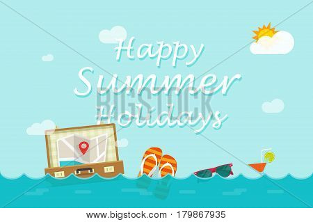 Happy summer holidays text under ocean or see with swimming journey things, flat cartoon style travel banner concept, vocation trip idea, summertime vector illustration background