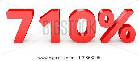 Seven Hundred And Ten Percent. 710 %. 3D Illustration.