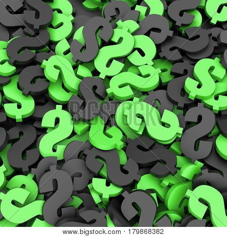 Black and green dollar signs background. 3D Rendering.