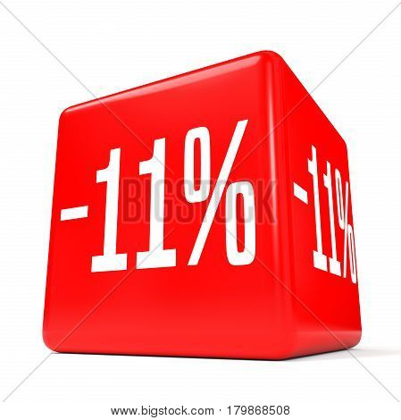 Eleven Percent Off. Discount 11 %. Red Cube.