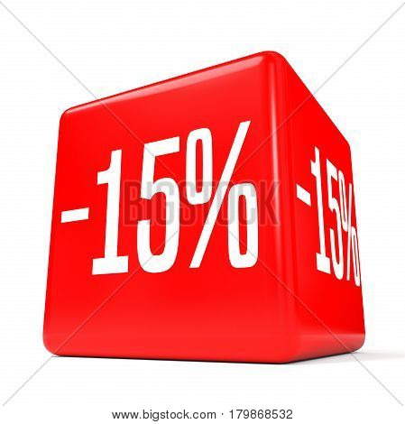 Fifteen Percent Off. Discount 15 %. Red Cube.