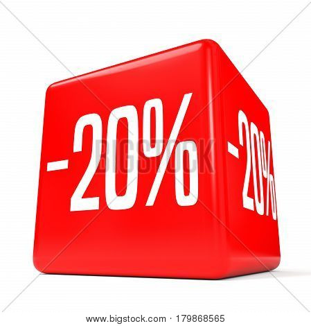 Twenty Percent Off. Discount 20 %. Red Cube.