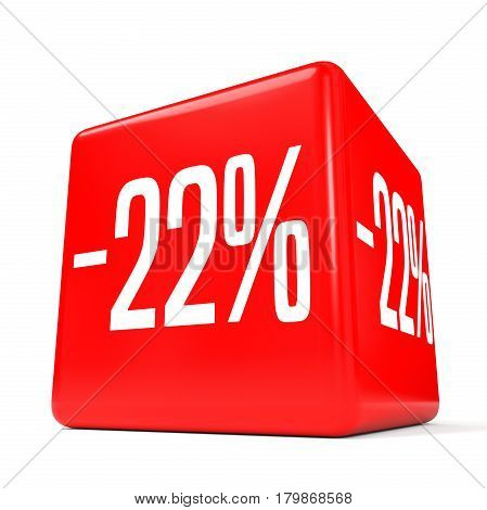Twenty Two Percent Off. Discount 22 %. Red Cube.