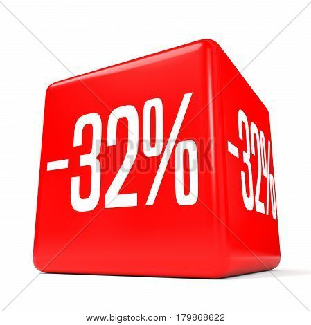 Thirty Two Percent Off. Discount 32 %. Red Cube.