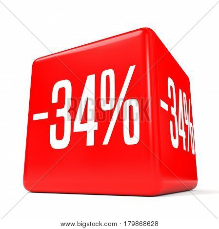 Thirty Four Percent Off. Discount 34 %. Red Cube.