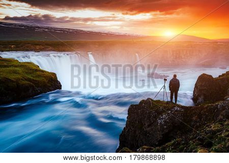 Great rapid flow of water powerful Godafoss cascade. Popular tourist attraction. Dramatic and gorgeous scene. Location place Bardardalur valley, Skjalfandafljot river, Iceland, Europe. Beauty world.