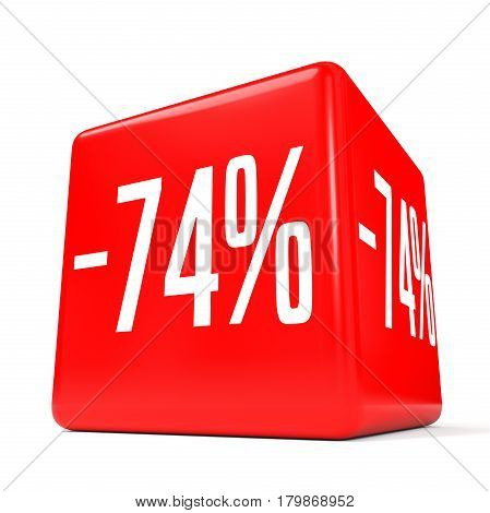 Seventy Four Percent Off. Discount 74 %. Red Cube.