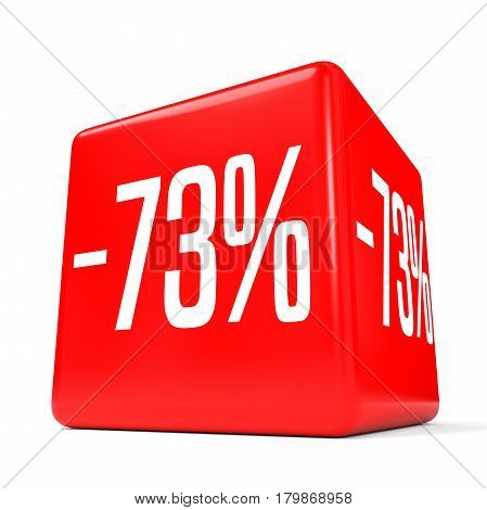 Seventy Three Percent Off. Discount 73 %. Red Cube.