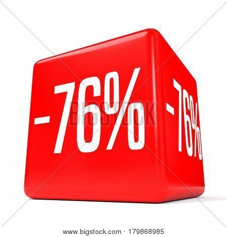 Seventy Six Percent Off. Discount 76 %. Red Cube.