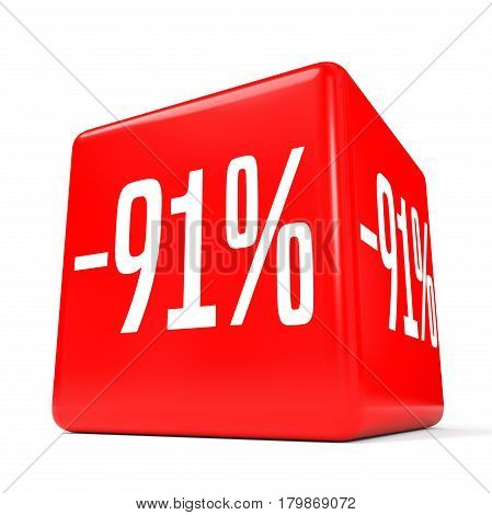 Ninety One Percent Off. Discount 91 %. Red Cube.