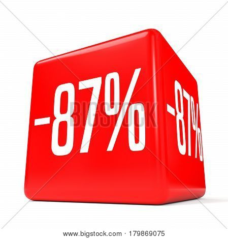 Eighty Seven Percent Off. Discount 87 %. Red Cube.