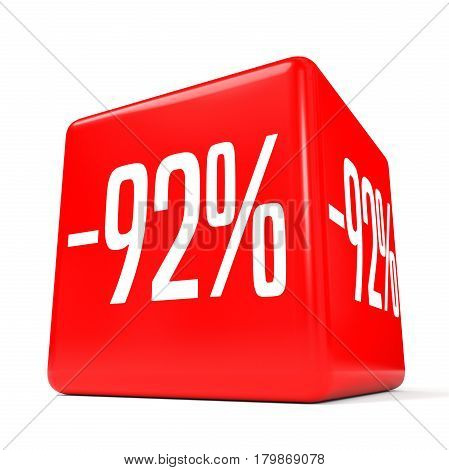 Ninety Two Percent Off. Discount 92 %. Red Cube.