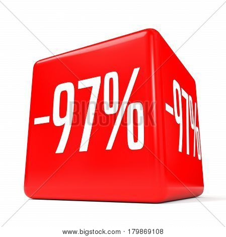Ninety Seven Percent Off. Discount 97 %. Red Cube.