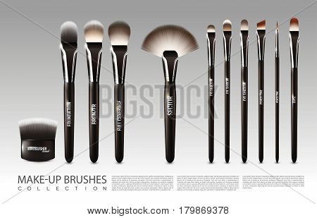 Realistic cosmetic accessories set with powder blush fan concealer liner lip and eye shadow brushes isolated vector illustration