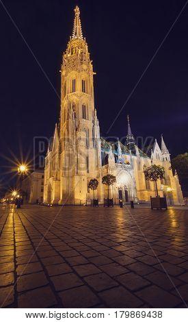 Night View Of Matthias Church In Budapest