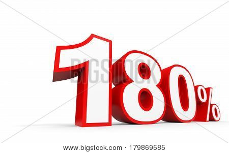 One Hundred And Eighty Percent. 180 %. 3D Illustration.