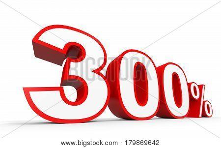 Three Hundred Percent. 300 %. 3D Illustration.