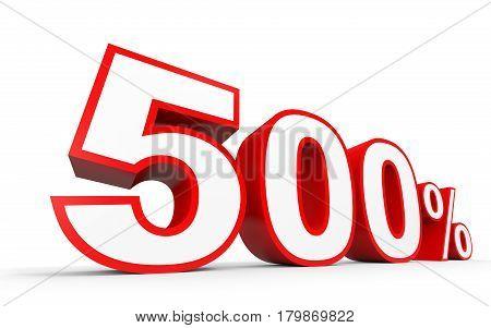 Five Hundred Percent. 500 %. 3D Illustration.