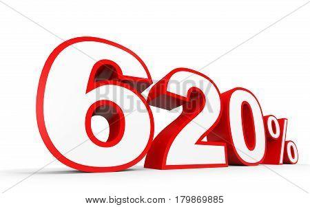 Six Hundred And Twenty Percent. 620 %. 3D Illustration.