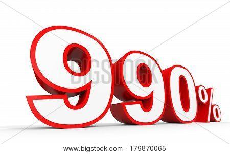 Nine Hundred And Ninety Percent. 990 %. 3D Illustration.