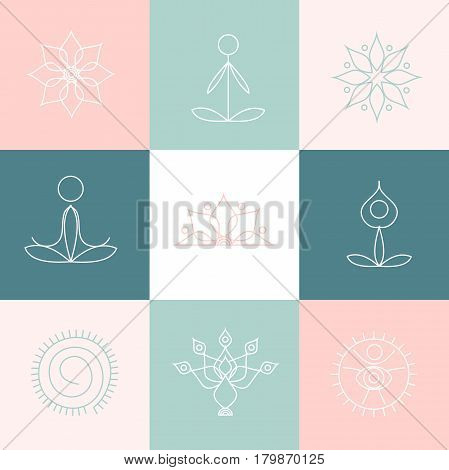 Stock vector line yoga icons, graphic design elements for logos, templates, spa center, studio