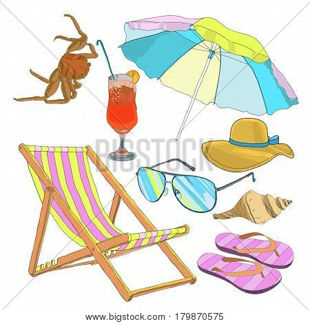 Summer beach vacation set with crab umbrella cocktail sunglasses hat recliner seashell and slippers isolated vector illustration