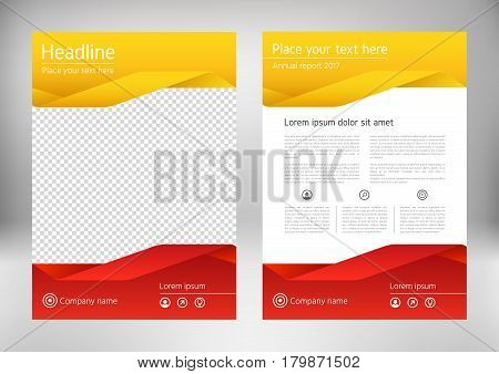 Red yellow annual report brochure design template vector. Business flyer infographic magazine poster. Abstract layout template. Book cover presentation portfolio. Leaflet advertising background.