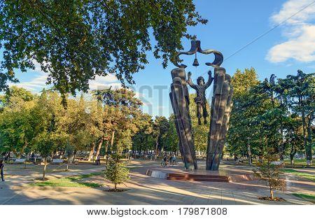 Deda Ena Statue In Tbilisi. Georgia