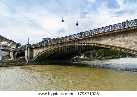 View Of Metekhi Bridge In Tbilisi, Georgia