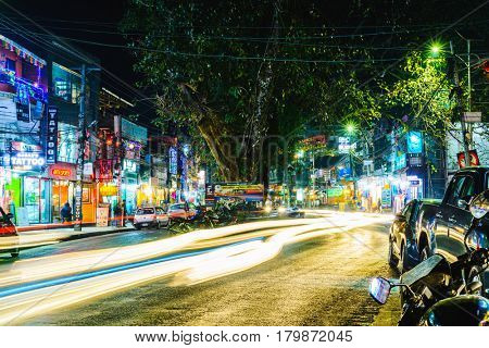 POKHARA, NEPAL - CIRCA JANUARY 2017: Long exposure of Lakeside road at night. Lakeside is the main touristic area of the city.