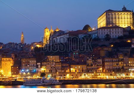 night view from the fishing port of Oporto, Portugal.