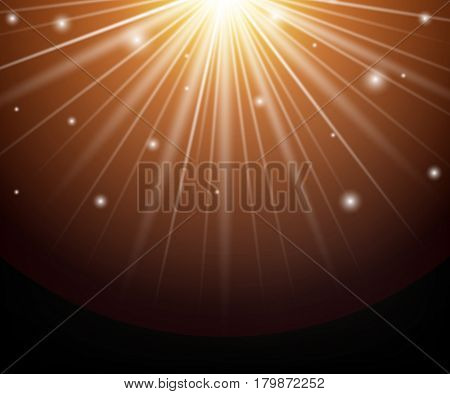 Yellow orange warm light effect sun rays beams on transparent black background with magic sparkles. Vector sunlight. Stock abstract magic illustration.