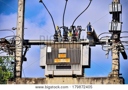 High voltage transformer on high power station
