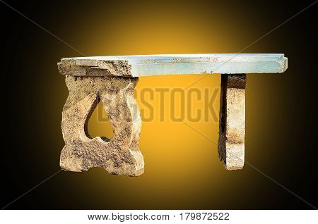 Old Marble benches isolate on yellow light