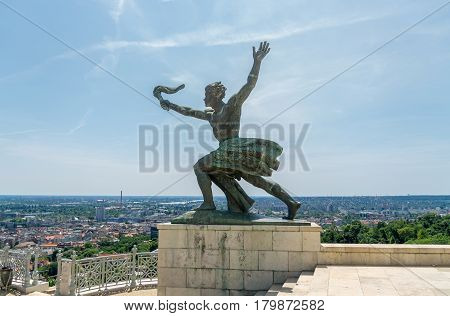 Small Statue On Gellert Hill In Budapest