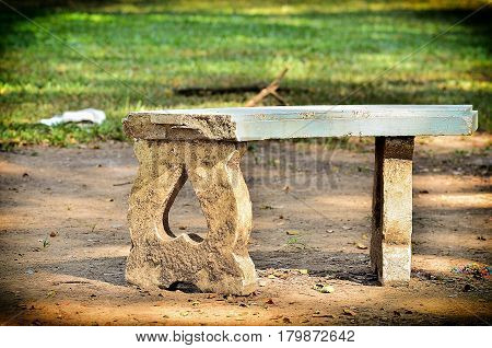 Old Marble benches in garden on morning light