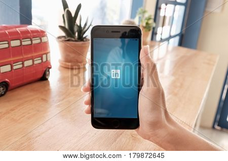 CHIANG MAI THAILAND - Feb 132017: Apple iPhone 6s with LinkedIn application on the screen. LinkedIn is a business-oriented social networking service.