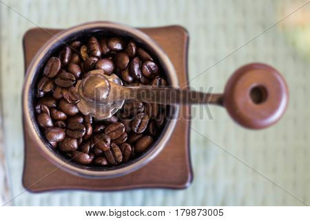 Mill For Grinding Roasted Coffee Grain stock photo