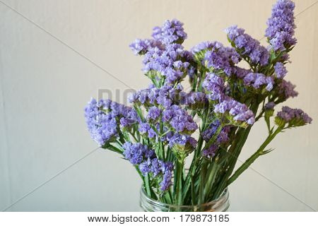 Beautiful Statice Flower Bouquet In The Vase stock photo