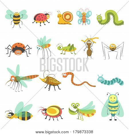 Cartoon insects set. Vector isolated icons of funny bugs of bumblebee or bee, butterfly or dragonfly, snake and spider with caterpillar and snail for kid design elements