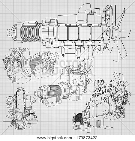 A big diesel engine with the truck depicted in the contour lines on graph paper. The contours of the black line on the grey background
