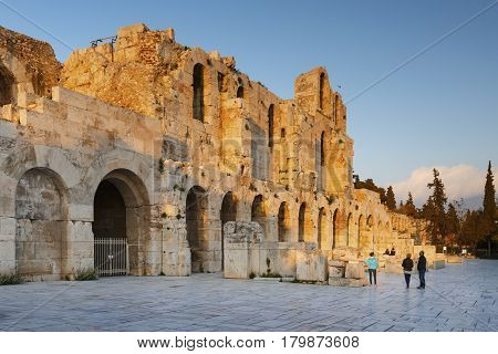 ATHENS, GREECE - MARCH 17, 2017: Remains of Odeon in the old town of Athens, Greece on March 17, 2017.