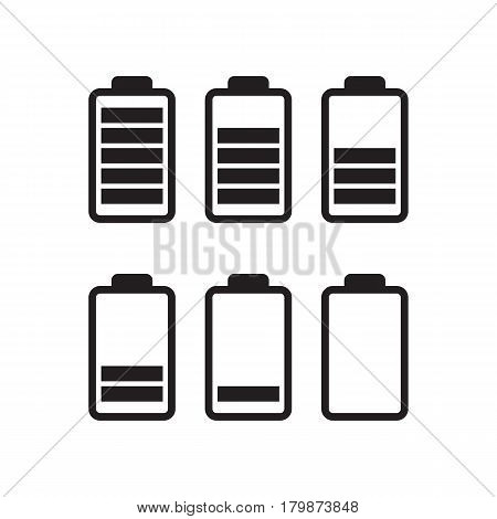 Black vector icons of battery running out of charge.